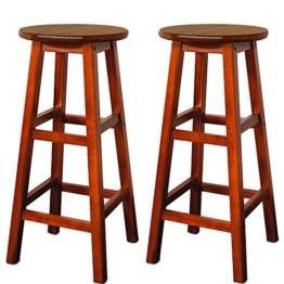 2x Barhocker Akazien-Holz braun - Barstuhl Bar Stuhl Küche Küchenstuhl -