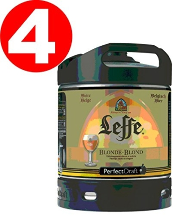 4 Fässer a 6 Liter Leffe Blonde 6,6% Vol. Original belgisches Bier - Belgisches Abday Bier. BBQ und Party!! -