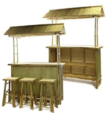 4 tlg. Bambus Bar Tiki Bar Bamboo Outdoor Garten Hocker Karibik -