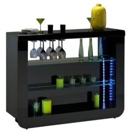 Bartisch FLOYD schwarz hochglanz Lack Hausbar Bartheke Bartresen Minibar Tresentisch optional LED Beleuchtung -