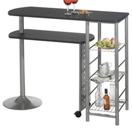 Bartisch Stehtisch Tresen JOSUA, in schwarz/alu, mit Regal und schwenkbarem Tisch -