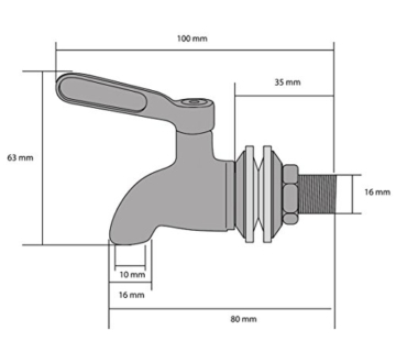 Bellabrunnen Edelstahl Wasserhahn für Wein Bier Trinkwasser als Ersatz für Wasserspender Getränkespender,16mm -