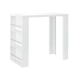 [en.casa] Bartheke / Bartisch / Bartresen + Hausbar mit 3 Fächern - weiß hochglanz - aus lackiertem MDF -