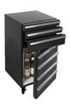 Mini-Kühlschrank für Getränke im retro Werkstattwagen-Look | schwarz, fahrbar, innovativ, stromsparend | exklusiver Bierkühlschrank auf Rollen ohne Gefrierfach | Gastro Cool | 3-Schubladen -