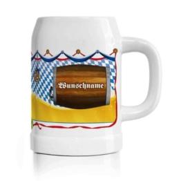 Privatglas Oktoberfest Bierkrug mit gratis Namen - Motiv: Bierfaß - 0,5 l -